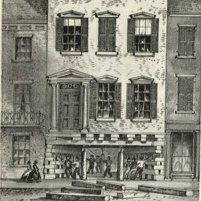 House raising on White Street jack up 1861 New York city view lithographed print