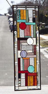 "I want CANDY!    Beveled Stained Glass Window Panel • 33 38/"" x 11 3/8"""