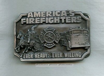 Excellent 1983 Pewter Limited Edition America's Firefighters Belt Buckle