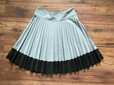 428174a95e H&M A-Line Pleated Skirt, Color Block, Gray/Black, Knee-