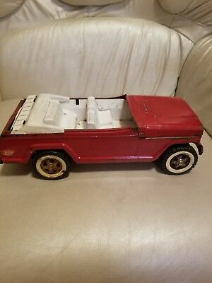 Large Vintage Tonka red Jeep Jeepster White Rims And Interior