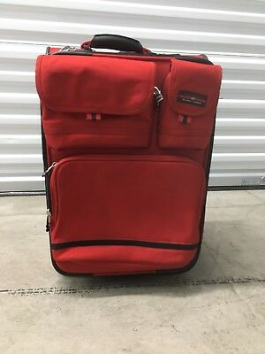 Polo Sport Ralph Lauren RL Rolling Carryon Luggage Red Vintage Suitcase 22""