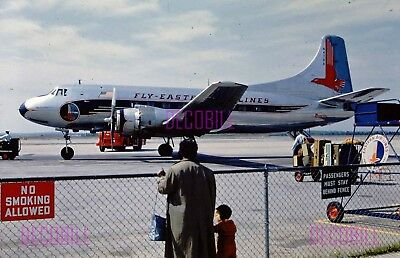 Old 35mm Slide Eastern Airlines Silver Falcon Airplane Red Border Kodachrome b39