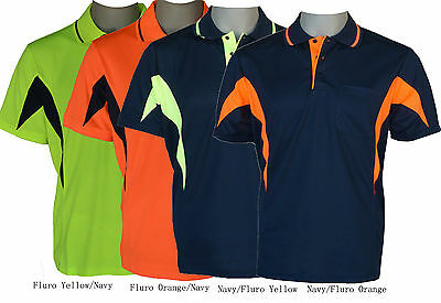 Breezeway contrast panel safety polo shirts S,M,LXL,XXL,XXXL,5XL
