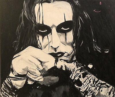 "Beautiful ""Brandon Lee"" of The Crow Art Original Canvas Painting"