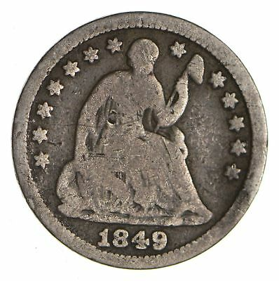 5c ***1/2 Dime** - 1849 Seated Liberty Half Dime - Early American Type Coin *859