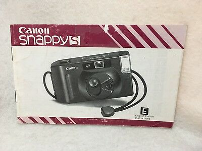 OEM Canon Snappy S Point & Shoot Camera Instruction Manual Guide in English 1985