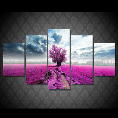 5 Piece Canvas Wall Art Purple Flowers Tree Clouds Land  Living Room Wall