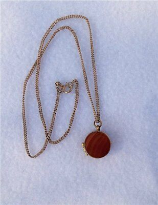 Beautiful Antique Banded Agate Pendant Locket Necklace