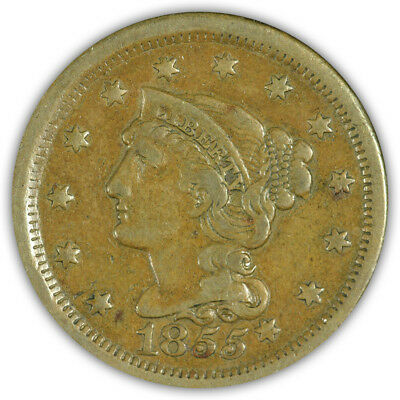 1855 Braided Hair Large Cent. Very Fine to Extremely Fine