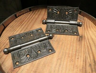 """Set of 2 Iron Antique Eastlake Victorian Door Hinges, 5.25"""" Tall and 4"""" Wide"""