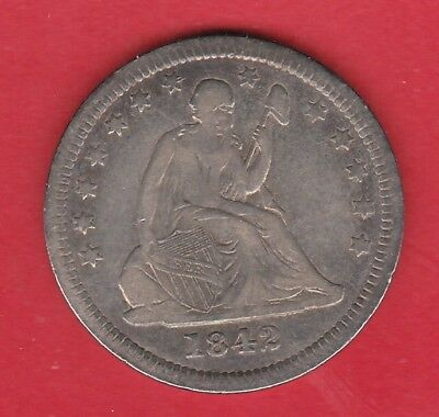 1842-P VF Seated Quarter Low Mintage Scarce!