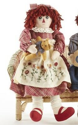 NEW Primitive Country Rustic Rag Doll W/ Embroidered Flower Apron & Teddy Bear