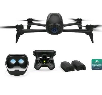 New Parrot Bebop 2 Drone Skycontroller 2 & Fpv Glasses Inc Extra Battery Black
