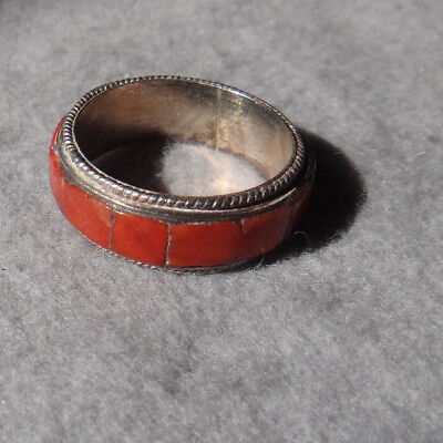 Vintage Sterling Silver Coral Panel Ring sz 6.5