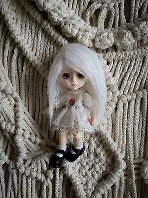 "5-6"" White Faux Fur Wig 1/8 BJD Doll Dollfie Monster high Lati yellow"