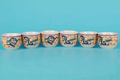 Vintage Chinese Porcelain Tea Bowl Painting Dragon Home Decoration Gift Collec