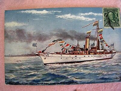 New Orleans Postcard...1909..Arrival of Rex by Steamboat....Tucks...Antique