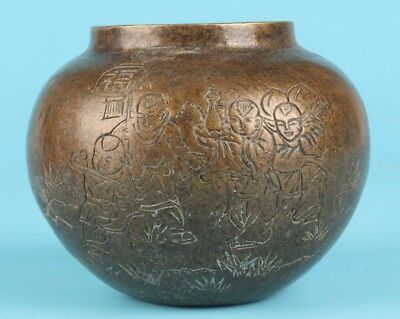 Antique Chinese Bronze Handmade Carving Pot Collection Rare Gift