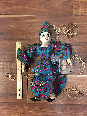 Burmese Marionette Puppet Hand Carved Hand Painted Asian Doll