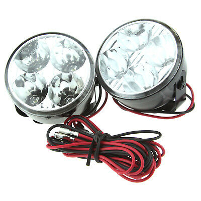 Car Fog Lights 4 LED White Daytime Driving Running Day Light DRL Round Lamps