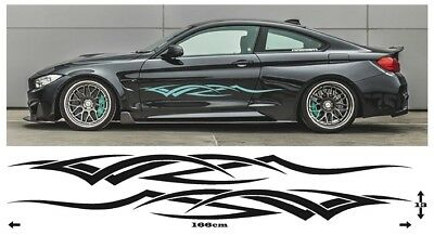 Pair Universal Tribal Sports Racing Side Stripes Graphics Stickers Vinyl Decals