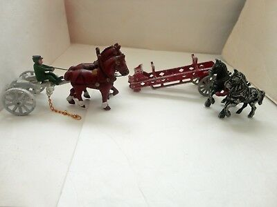 Vintage Lot Cast Iron Metal Toy Horse Cart & Carriage