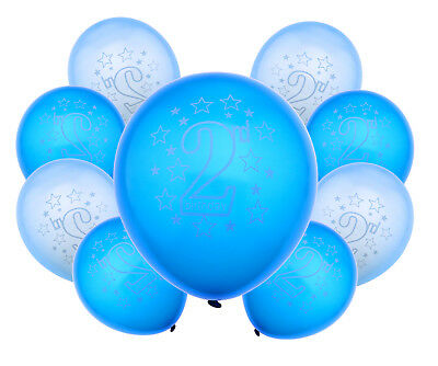20Pcs 28cm Blue Baby 2nd Birthday Printed Heart Latex Balloons Party Decoration