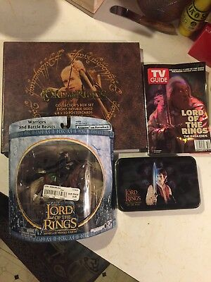 Lord of the Rings Lot of Playing Cards tin, Action Figure, Postcards & TV Guide