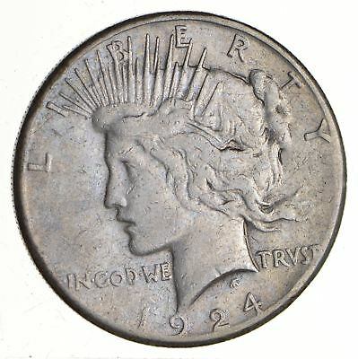 Early - 1924-S - Peace Silver Dollar - 90% US Coin *665