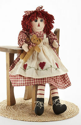 NEW!! Primitive Country Rustic Raggedy Girl Doll W/ Teddy Bear & Red Heart Dress