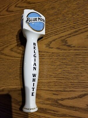 Blue Moon Belgian White Ceramic Beer Keg Tap Handle Triple-Sided 12 Inches Tall