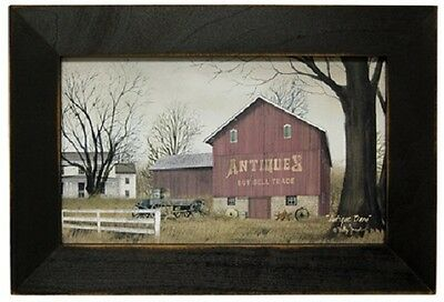 """Primitive Country Rustic Red """" ANTIQUES BARN """"  Wood Framed Art"""
