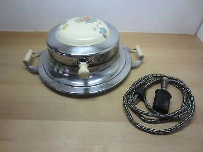 Vintage Universal Waffle Iron, Porcelain or Ceramic Floral Top & Cord, Works!