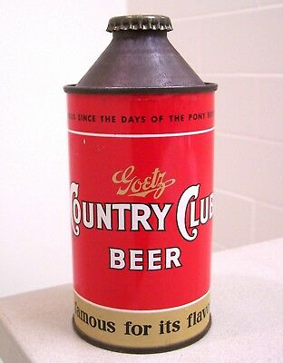 **sharp clean c. 1950s GOETZ Country Club DNCMT 4% HP cone top beer can St. Joe