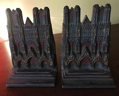 Antique 1920s Cast Iron HEIM CATHEDRAL 134 Painted Art Craft Bookends Pair