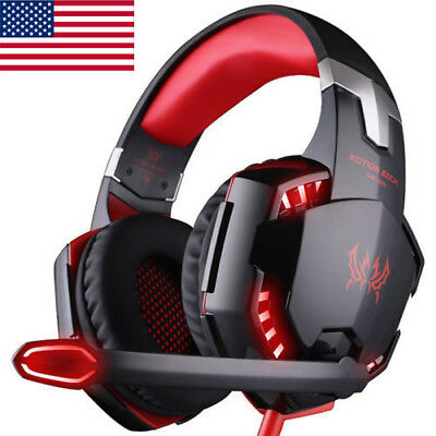 KOTION EACH G9000 3.5 LED Gaming Headphone Stereo Headset for PC Laptop PS4 Red