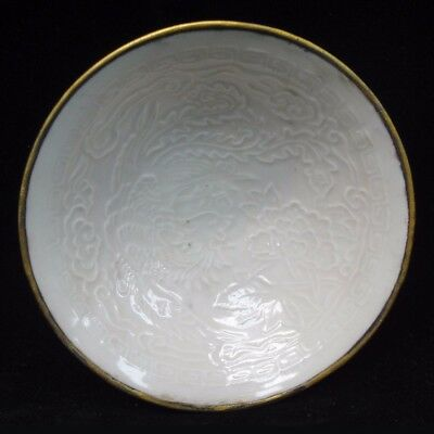 "Rare Ancient Chinese ""Ding"" Kiln White Glaze Phoenix Porcelain Bowl"