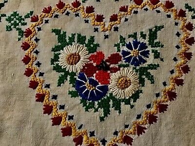 "Antique Vintage Gorgeous Hand Embroidered Heart & Flowers Pillow Case 20 1/2"" x"