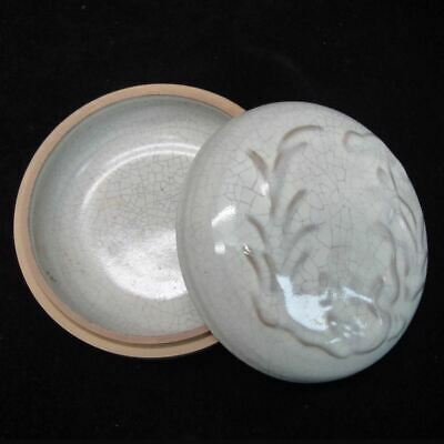 """Fine Old Chinese """"Ge"""" Kiln Celadon Porcelain Round Box with Cover Mark"""