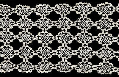 "Early Vintage Gorgeous Crochet Lace White Cotton Runner  50""x 14"""