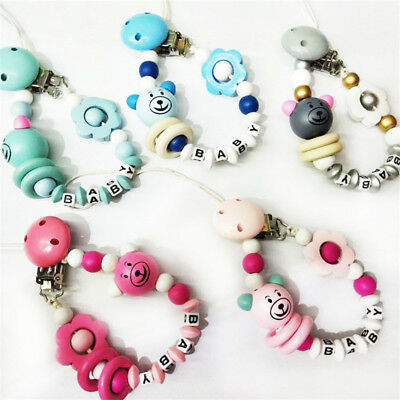 Baby Pacifier Clip Chain Cartoon Letters Toys Teether Infant Nipple Feeding B