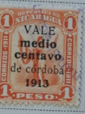 Nicaragua stamps   1  peso  OVP Vale  1/2 centavo    1913  LH