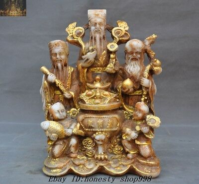 "9""Chinese Buddhism Old Jade Gilt Carved Boy Fu Lu Shou Yuanbao Wealth God Statue"