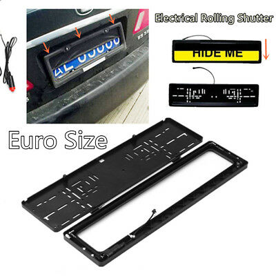 Electric Euro Hide Stealth License Plate Car Number Roller Shutter Protect Cover