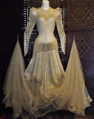 VINTAGE 1930's 1940s ORIGINAL Lace & Tulle Size Small WEDDING DRESS EVENING GOWN