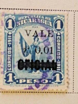 Nicaragua stamps     1 peso  OVP  oficial/Vale 1 ct   1914  LH