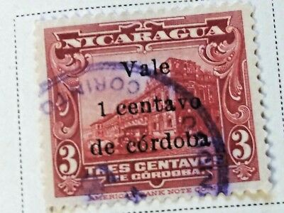 Nicaragua stamps  3 centavos   OVP  Vale  1 ct   1918  LH