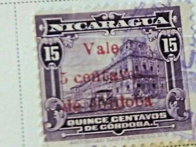 Nicaragua stamps  15 centavos   OVP  Vale  5 ct   1918  LH