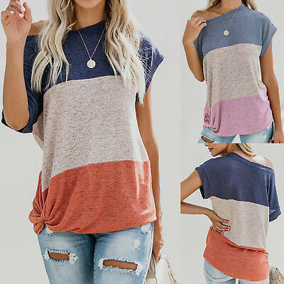 Womens Casual T-Shirt Tops Cold Shoulder Short Batwing Sleeve Summer Blouse Tee